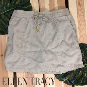 Ellen Tracy Summer Linen Skort Sandstone Khaki